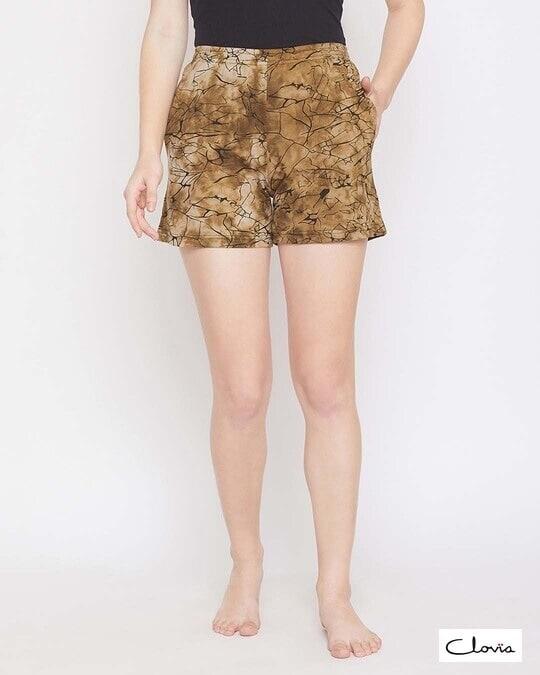 Shop Print Me Pretty Boxer Shorts In Brown  100% Cotton-Front