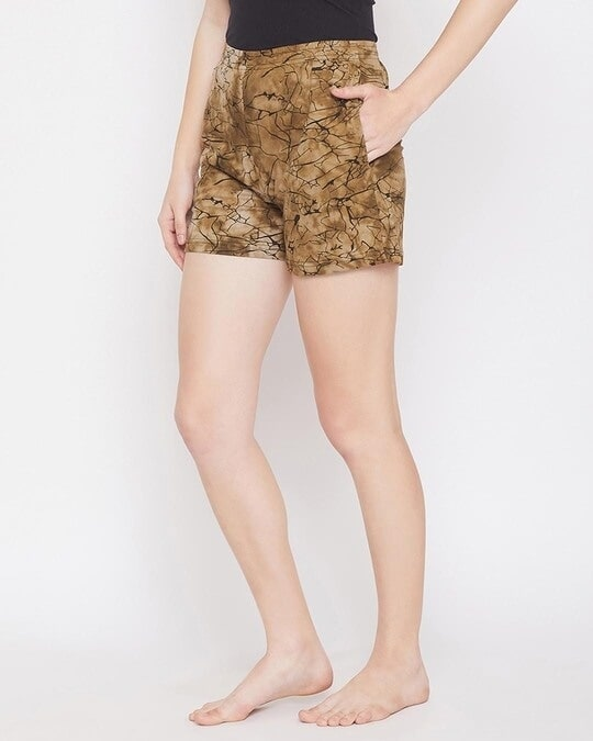 Shop Clovia Print Me Pretty Boxer Shorts in Brown- 100% Cotton-Back