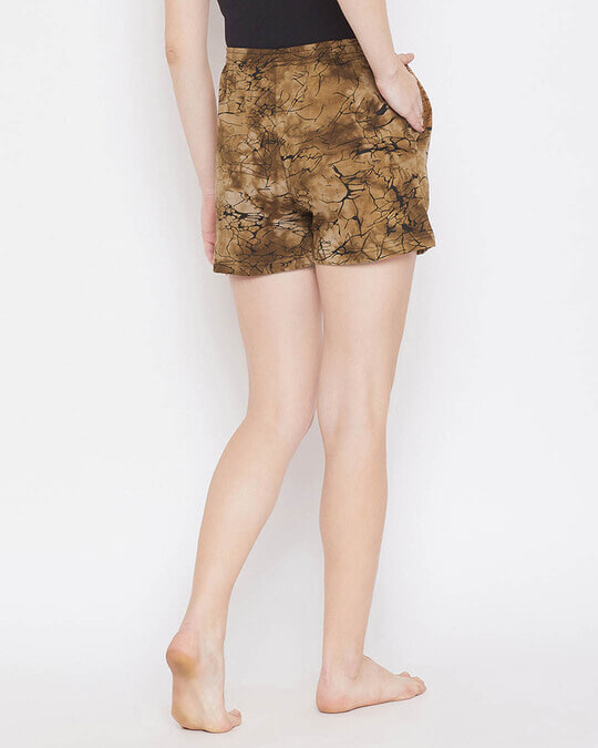 Shop Clovia Print Me Pretty Boxer Shorts in Brown- 100% Cotton-Design