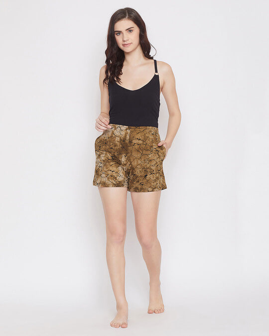 Shop Clovia Print Me Pretty Boxer Shorts in Brown- 100% Cotton-Full