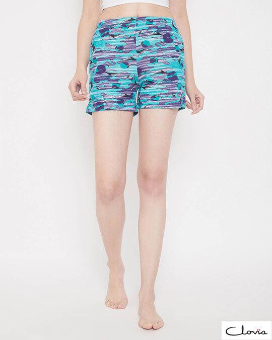 Shop Print Me Pretty Boxer Shorts In Light Blue-Front