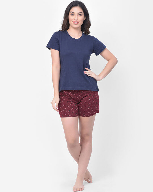 Shop Print Me Pretty Boxer Shorts In Maroon  Cotton Rich-Full
