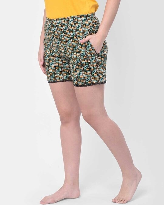 Shop Clovia Print Me Pretty Boxer Shorts in Multi- Cotton Rich-Back