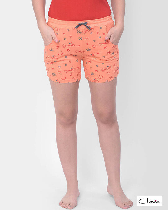Shop Clovia Print Me Pretty Boxer Shorts in Orange- Cotton Rich-Front