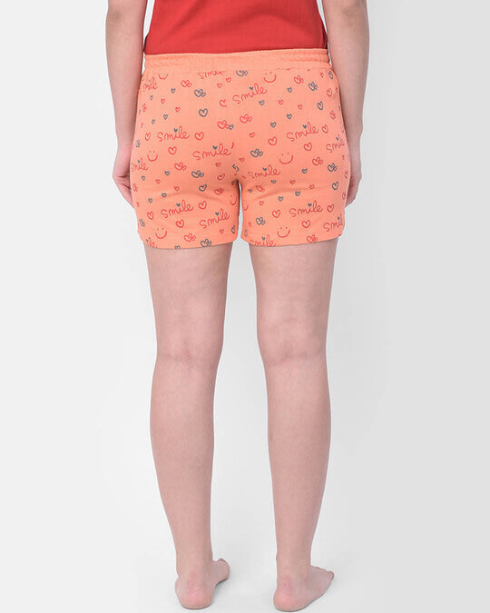 Shop Clovia Print Me Pretty Boxer Shorts in Orange- Cotton Rich-Design