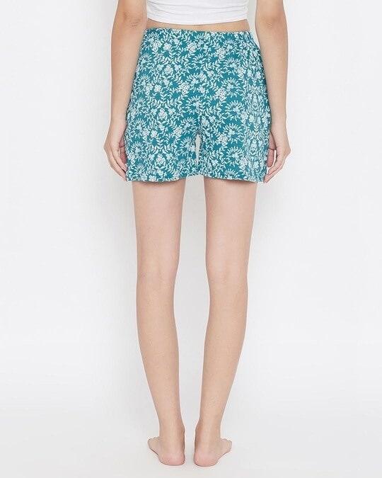 Shop Print Me Pretty Boxer Shorts In Sea Green-Back