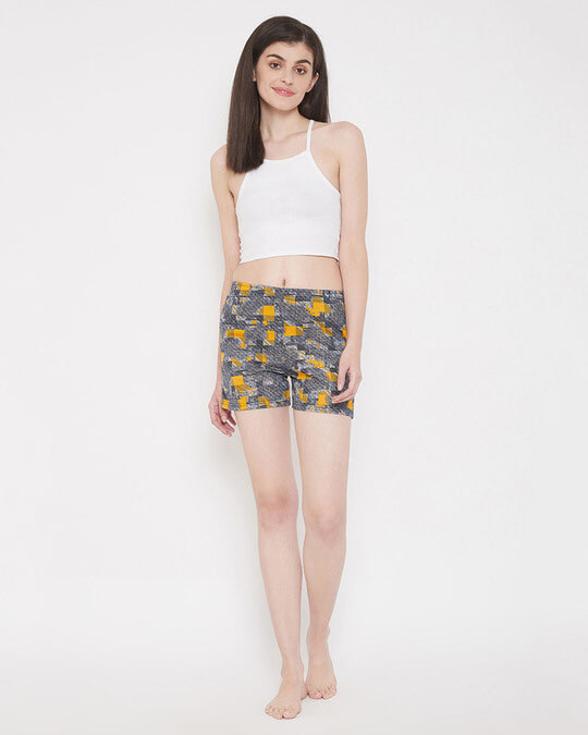 Shop Print Me Pretty Boxer Shorts In Yellow-Full