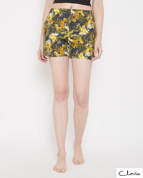 Shop Print Me Pretty Boxer Shorts In Yellow-Front