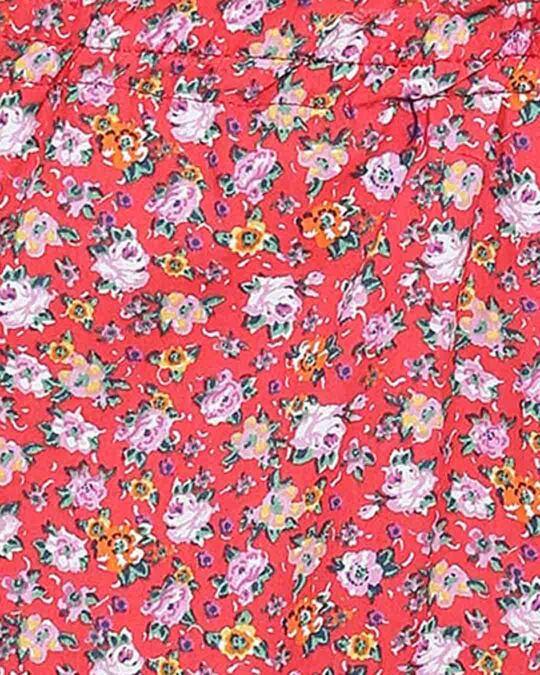 Shop Clovia Print Me Pretty Button Me Up Shirt & Pyjama in Red