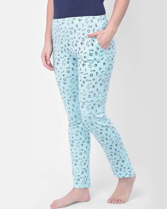 Shop Clovia Print Me Pretty Pyjama in Light Blue- Cotton Rich-Back