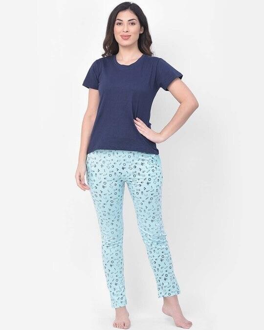 Shop Clovia Print Me Pretty Pyjama in Light Blue- Cotton Rich-Full
