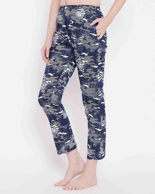Shop Clovia Print Me Pretty Pyjama in Navy Blue- Cotton Rich-Back