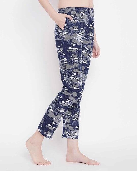 Shop Clovia Print Me Pretty Pyjama in Navy Blue- Cotton Rich-Design