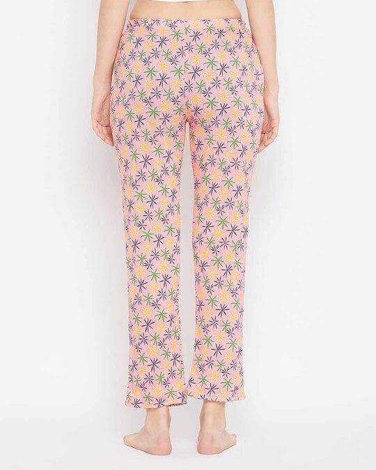 Shop Print Me Pretty Pyjama In Peach Pink   Cotton Rich-Design