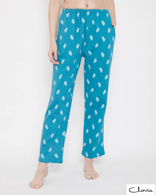 Shop Print Me Pretty Pyjama In Turquoise-Front