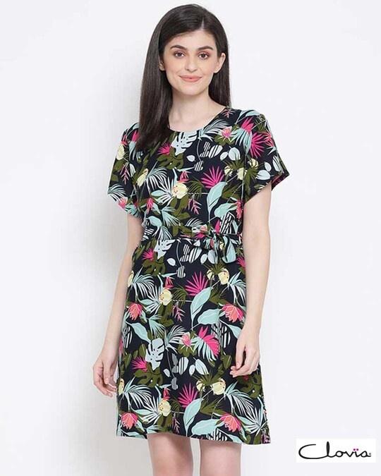 Shop Clovia Print Me Pretty Short Night Dress in Red-Front