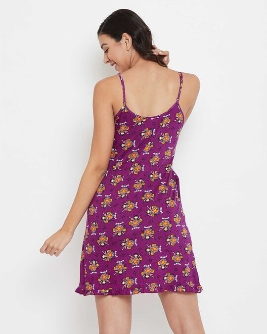 Shop Print Me Pretty Short Nigthdress With Pocket-Full