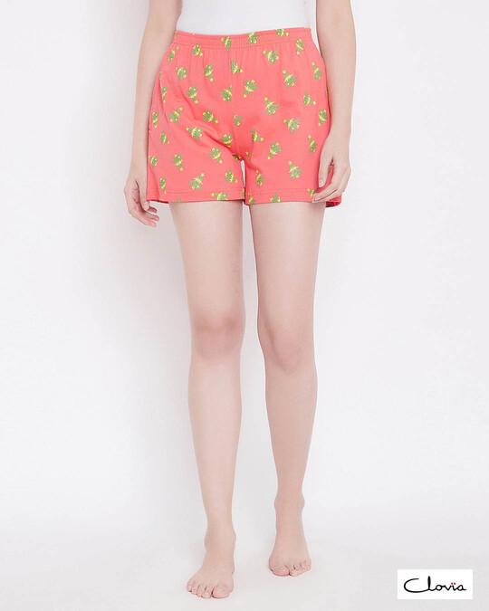 Shop Print Me Pretty Shorts In Orange  Cotton Rich-Front