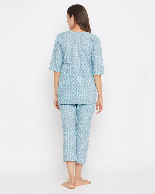 Shop Print Me Pretty Top & Cropped Pyjama Set-Back