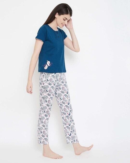 Shop Print Me Pretty Top & Pyjama Set In Blue & White  100% Cotton-Design