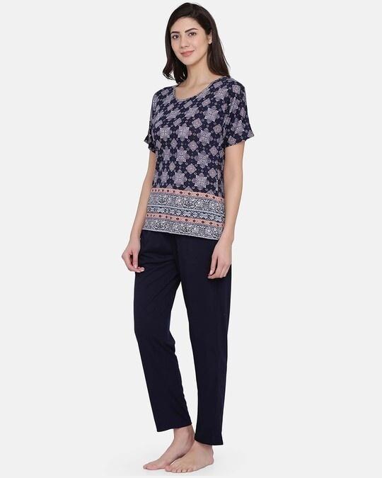Shop Print Me Pretty Top & Pyjama Set In Navy Blue   Cotton Rich-Back