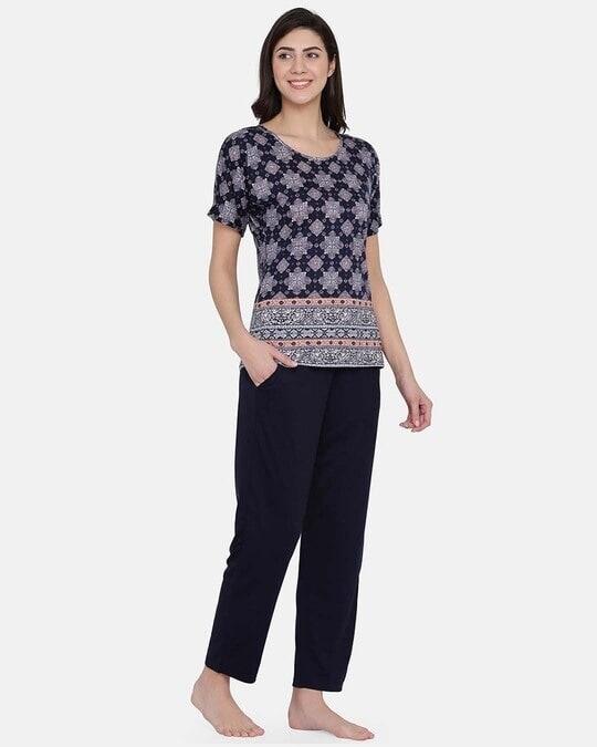 Shop Print Me Pretty Top & Pyjama Set In Navy Blue   Cotton Rich-Full