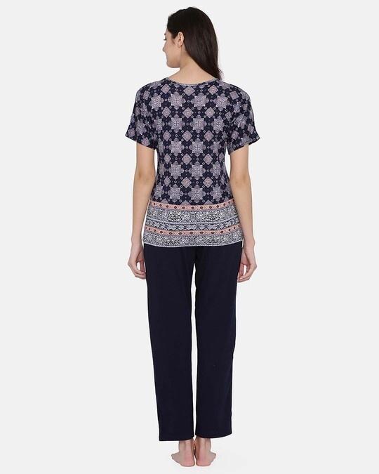 Shop Print Me Pretty Top & Pyjama Set In Navy Blue   Cotton Rich-Design