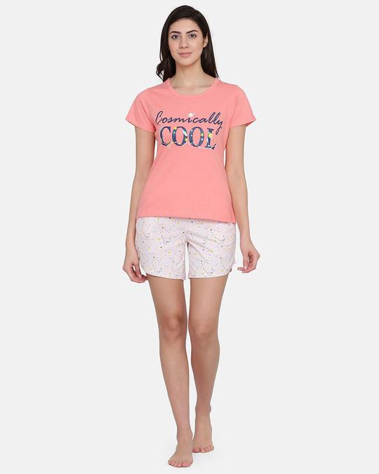 Shop Clovia Print Me Pretty Top & Shorts Set in Peach & White - Cotton Rich