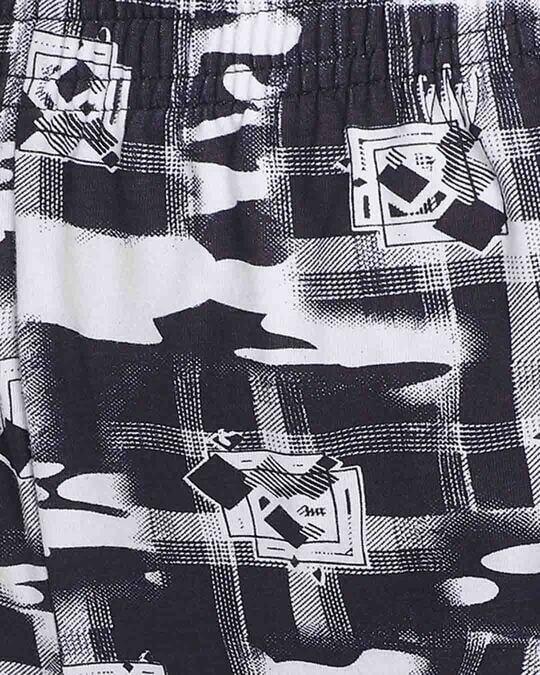Shop Clovia Printed Shorts in Black- Cotton Rich