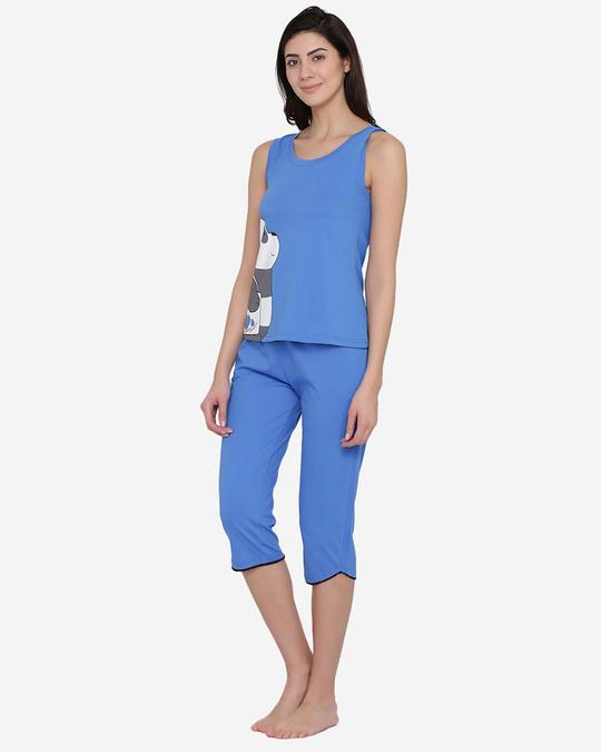 Shop Printed Top & Capri Set In Blue  100% Cotton-Back