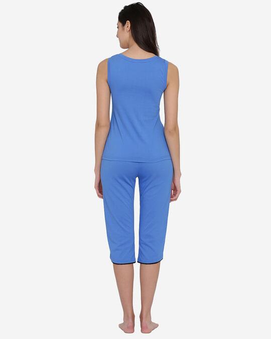 Shop Printed Top & Capri Set In Blue  100% Cotton-Design