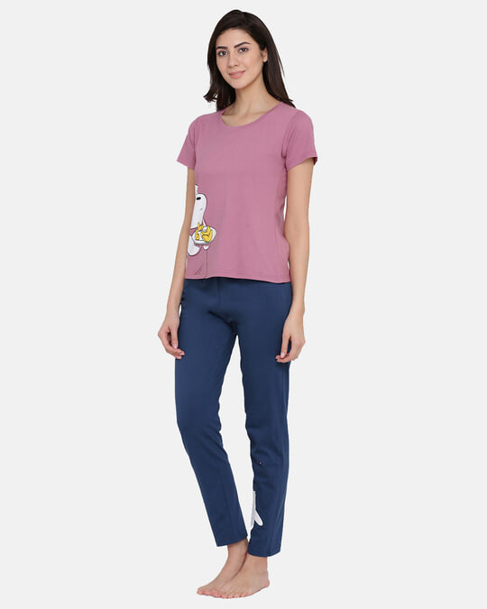 Shop Printed Top & Pyjama Set In Pink & Dark Blue  Cotton Rich-Back