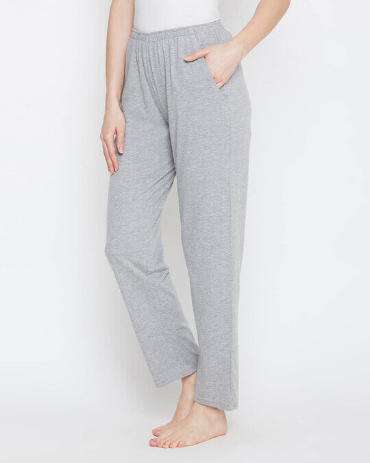 Shop Pyjama With Elastic Waistband In Grey   Cotton Rich-Back