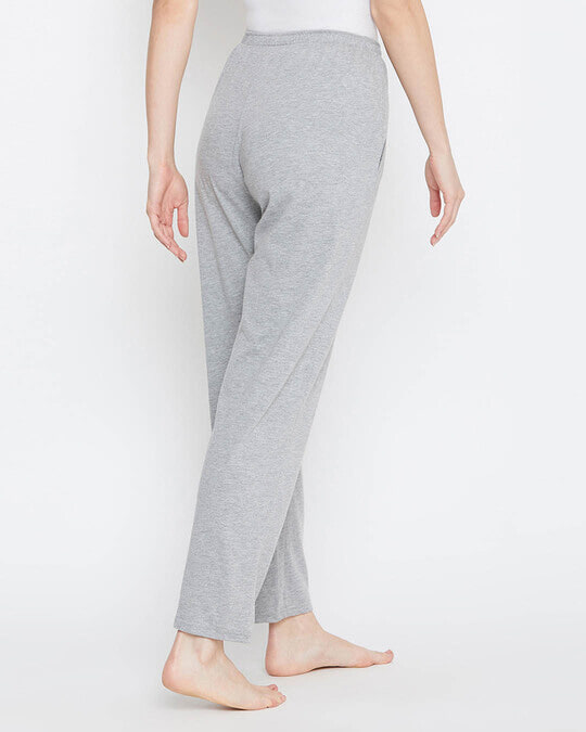 Shop Pyjama With Elastic Waistband In Grey   Cotton Rich-Full