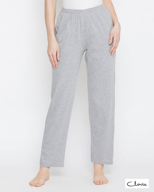 Shop Clovia Pyjama with Elastic Waistband in Grey - Cotton Rich-Front
