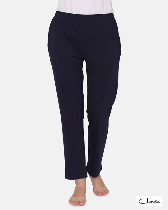 Shop Pyjama With Elastic Waistband In Navy   Cotton Rich-Front