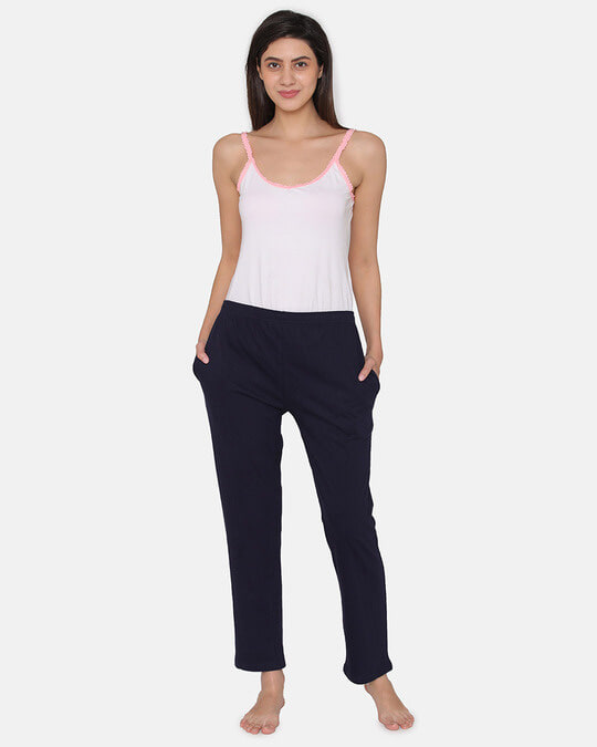 Shop Pyjama With Elastic Waistband In Navy   Cotton Rich-Full