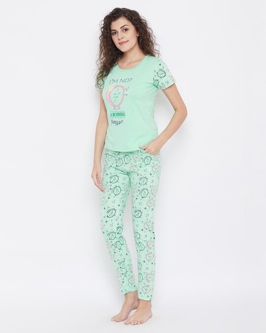 Shop Quirky Print Top & Pyjama Set In Mint Green   100% Cotton-Back