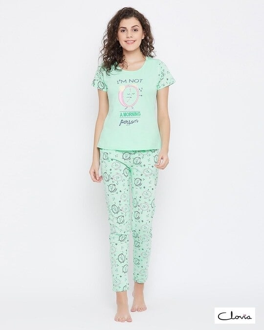 Shop Quirky Print Top & Pyjama Set In Mint Green   100% Cotton-Front