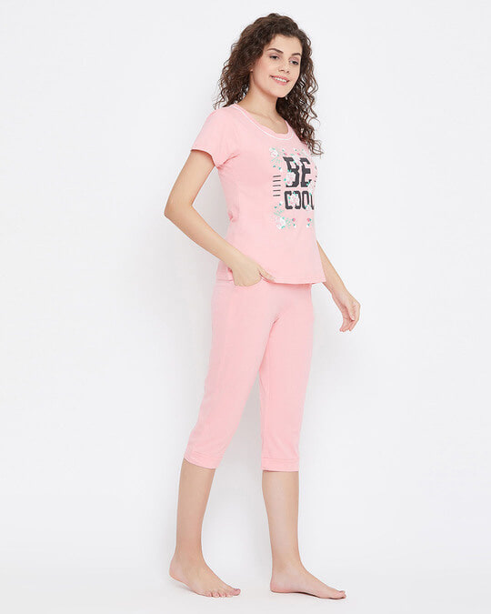 Shop Quirky Text Top & Capri Set In Baby Pink 100% Cotton-Design