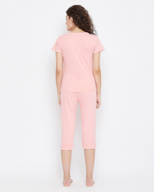 Shop Quirky Text Top & Capri Set In Baby Pink 100% Cotton-Full