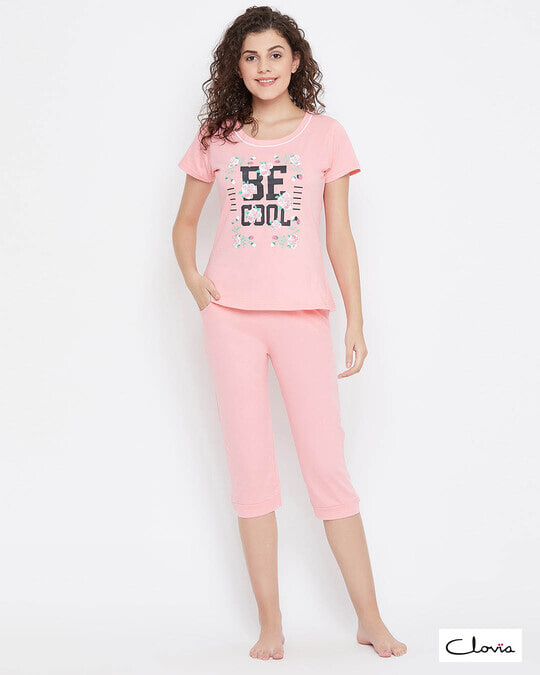 Shop Quirky Text Top & Capri Set In Baby Pink 100% Cotton-Front