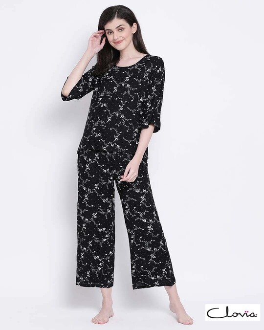 Shop Clovia Rayon Floral Printed Top & Pyjama Set-Front