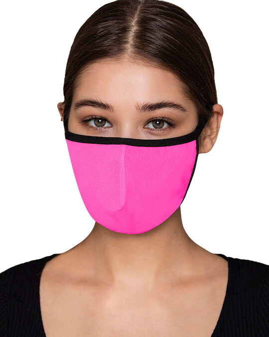 Shop Reusable 3 Ply Face Mask In Pink-Front
