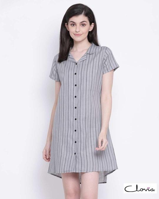 Shop Clovia Sassy Stripes Button Me Up Short Night Dress in Grey-Front