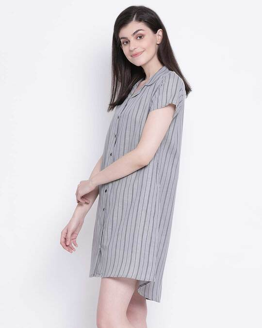 Shop Clovia Sassy Stripes Button Me Up Short Night Dress in Grey-Back