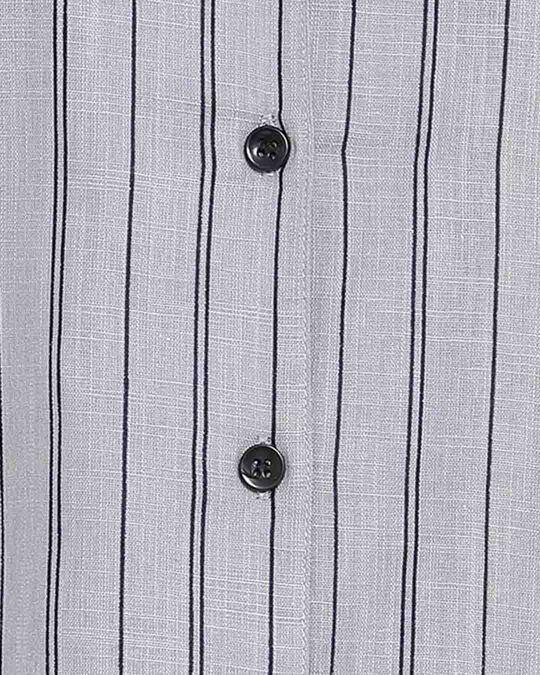 Shop Clovia Sassy Stripes Button Me Up Short Night Dress in Grey