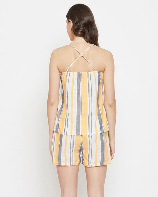 Shop Sassy Stripes Cami Top & Shorts In Beige   100% Cotton-Design