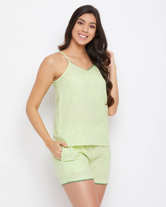 Shop Sassy Stripes Cami Top & Shorts In Lemon Yellow   100% Cotton-Back