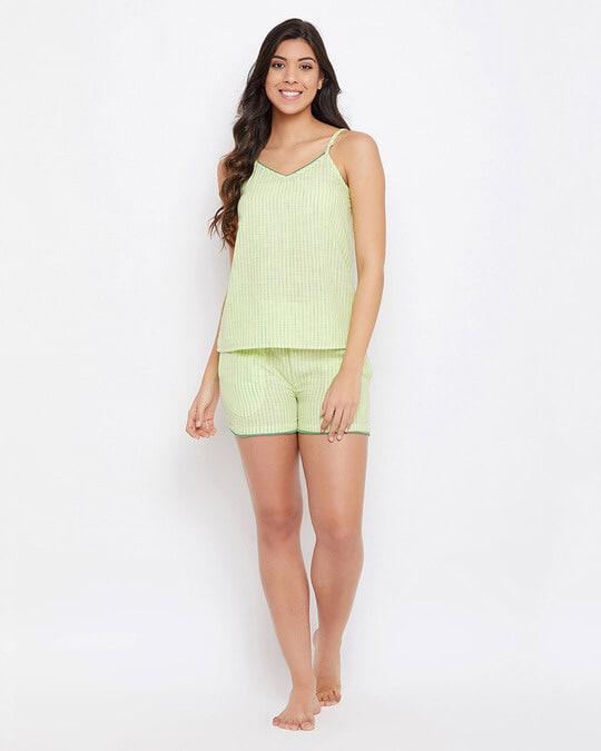 Shop Sassy Stripes Cami Top & Shorts In Lemon Yellow   100% Cotton-Full